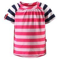 T-shirt koszulka Reima z krótkim rękawem Sampi różowo/biało/granatowe paski (6416134612783)