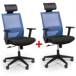 B2b partner Krzesło biurowe z oparciem z siatki wolf, regulowane podłokietniki, plastikowy krzyżak, 1+1 gratis, niebieskie