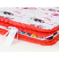 kocyk minky dla dzieci 100x135 piórka burgund / czerwona pomarańcza marki Mamo-tato