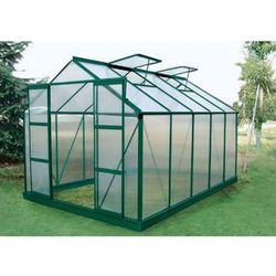 Vente-unique Szklarnia ogrodowa z poliwęglanu o pow. 9 m² corolle ii z podstawą - zielona