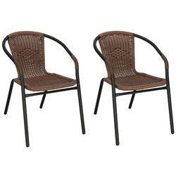 Krzesło ogrodowe 2 szt. metalowe, plecione krzesło na balkon ciemny brąz mix