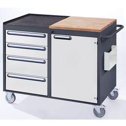 Stół warsztatowy, ruchomy, 4 szuflady, 1 drzwi, blat roboczy z drewna / metalu, marki Rau