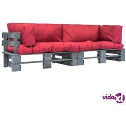 vidaXL Meble ogrodowe z palet, 2 szt., drewno FSC, czerwone poduszki (8718475727934)