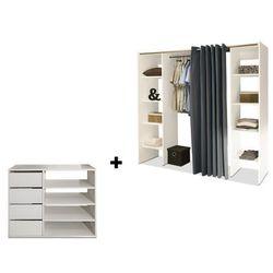 Vente-unique Zestaw garderoba + mebel do przechowywania emeric - biały i antracytowy