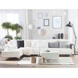 Sofa modułowa rozkładana skóra ekologiczna biała prawostronna otomana aberdeen marki Beliani