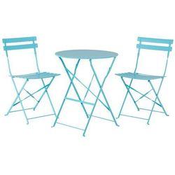 Meble ogrodowe niebieskie - balkonowe - stół z 2 krzesłami - FIORI