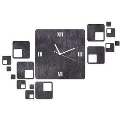 Drewniany zegar na ścianę z kwadratami z białymi wskazówkami, kolor czarny