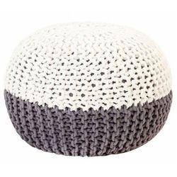 Biało-szara okrągła pufa bawełniana ręcznie pleciona - iwor marki Elior