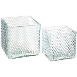 Stylowe doniczki szklane, zestaw 2 doniczek kwadratowych do salonu, kolor zielony marki Atmosphera