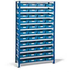 Regał 300x1740x1000mm z 44 niebieskimi pojemnikami