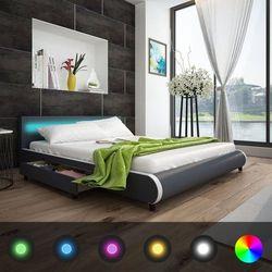 Vidaxl łóżko z oświetleniem led w zagłówku + materac piankowy memory (8718475958642)