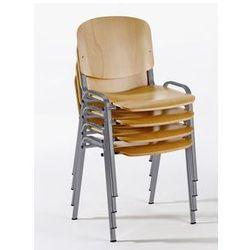 Krzesło do ustawiania w stos, ergonomiczny kształt,imit. buku / szkielet w kolorze aluminium marki Rocada