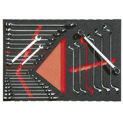 Zestaw narzędzi we wkładce z miękkiej gąbki, klucz oczkowy i szczękowy, 27-częśc