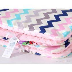 komplet kocyk minky do wózka + poduszka zygzak turkus-róż / jasny róż marki Mamo-tato