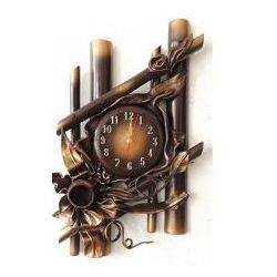Art deco Zegar bambusowy scienny w skórze - b14-2
