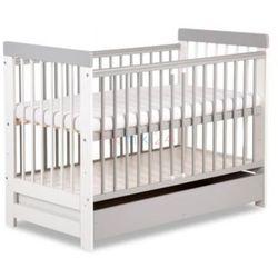 Klupś łóżeczko radek vi biało-szare z szufladą 120x60 cm