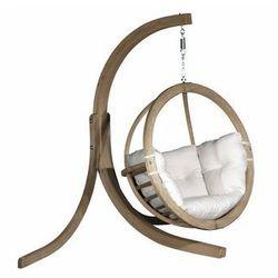 Fotel wiszący drewniany ze stojakiem - Bubble Wood Ecru