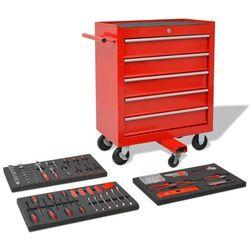 vidaXL Wózek warsztatowy z 269 narzędziami, stalowy, czerwony (8718475518792)