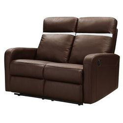 Sofa 2-osobowa z elektryczną funkcją relaksu ze skóry aberdeen - kolor brązowy z pasem w kolorze kości słoniowej marki Vente-unique.pl