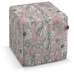 Dekoria pufa kostka twarda, białe kwiaty na różowym tle, 40x40x40 cm, brooklyn