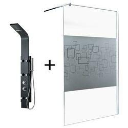 Zestaw prysznicowy 2 produkty: kabina prysznicowa paulina 140 cm + kolumna prysznicowa z hydromasażem evana czarna marki Vente-unique.pl