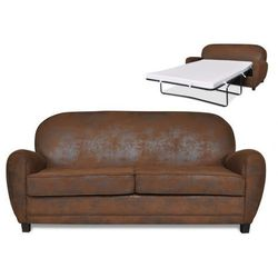3-osobowa rozkładana kanapa klubowa ricky z mikrofibry o wyglądzie postarzanej skóry marki Vente-unique