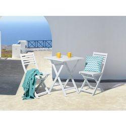 Beliani Meble ogrodowe białe - ogród - taras - stół z 2 krzesłami - fiji