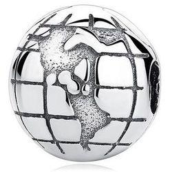 Rodowany srebrny charms pandora blokada klips globus kula ziemska mapa świata book srebro 925 LOCK45
