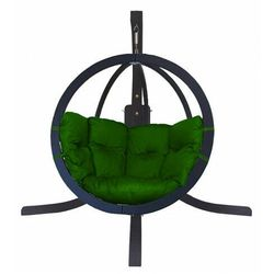 Wiszący fotel antracytowy z zieloną poduszką - Parys 4X, O-Zone-fotel-antracyt