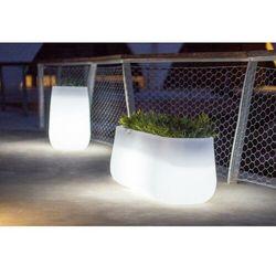 Sofa.pl New garden donica camelia 60 solar biała - led, sterowana pilotem
