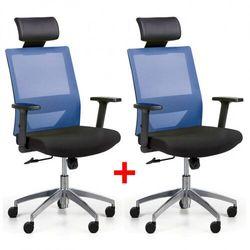 B2b partner Krzesło biurowe z oparciem z siatki wolf ii, regulowane podłokietniki, aluminiowy krzyżak, 1+1 gratis, niebieskie