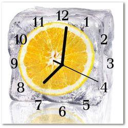 Zegar szklany kwadratowy Lody pomarańczowe