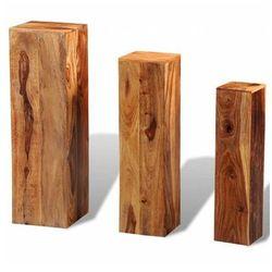 Komplet kwietników z drewna sheesham - nadil marki Elior