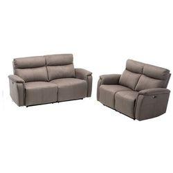 Sofa 3- + 2-osobowa HENEL z tkaniny, z elektryczną funkcją relaksu – kolor szary, kolor szary