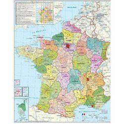 Francja mapa ścienna kody pocztowe na podkładzie korkowym 1:1 000 000 Stiefel