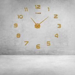 Duży złoty zegar ścienny CYFRY, kolor żółty