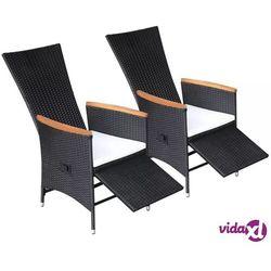 Vidaxl fotele ogrodowe rozkładane, 2 szt., rattan pe i akacja (8718475503002)