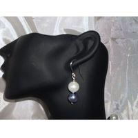 K-00006 Kolczyki z perełek szklanych białych i popielatych, 14-03-11