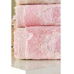 Ręcznik kąpielowy DESTAN 85x150cm z koronką Stary róż (8698642038684)