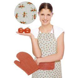 Bellatex Fartuch z rękawicą kuchenną, pomarańczowy kwiat z kategorii Fartuchy kuchenne