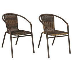 Krzesła ogrodowe 2 szt. metalowe brązowe plecione krzesło na balkon zestaw mix