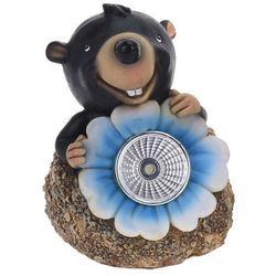 Lampa solarna kret z niebieskim kwiatem figurka ozdobna marki Progarden