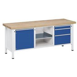 Anke werkbänke - anton kessel Stół warsztatowy, stabilny, 1 drzwi 540 mm, 3 szuflady, lite drewno bukowe, pełn