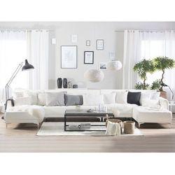 Beliani Sofa rozkładana xxl skóra ekologiczna biała aberdeen