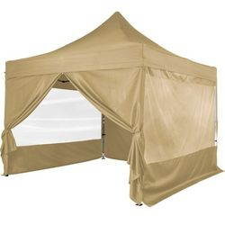 Instent ® Beżowy pawilon ekspresowy namiot 3x3m + 4 ścianki