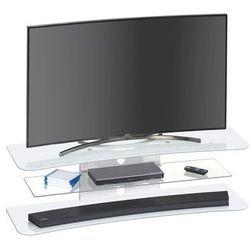 Stolik pod telewizor, 140 cm, biały, szkło, 16239946
