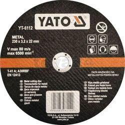 Tarcza do cięcia metalu 230x3.2x22 mm / YT-6112 / YATO - ZYSKAJ RABAT 30 ZŁ