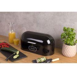 """Secret de gourmet Stylowy chlebak na pieczywo z napisem """"pain"""", kolor czarny, wykonany z wysokiej jakości metalu, pojemny, owalny kształt"""