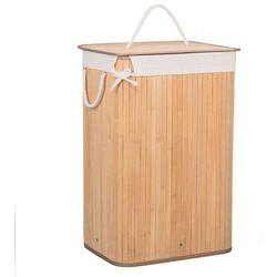 Kosz na pranie 72 l z pokrywą naturalny bambus marki Springos