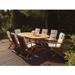 Krzesło ogrodowe drewniane poducha beżowo-zieolone paski MAUI (4260586357530)